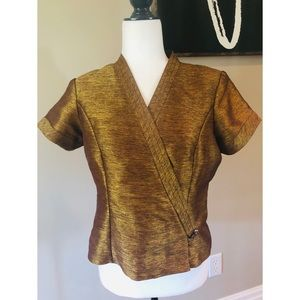 Vintage gold short sleeve wrap  top
